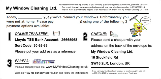 Notification of Payment to My Window Cleaning Ltd.