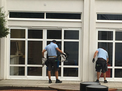 our domestic window cleaners working